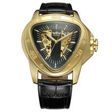 VINCITORE di Modo creativo triangolo superficie classico nero oro a tre puntatore cinghia degli uomini orologio da polso