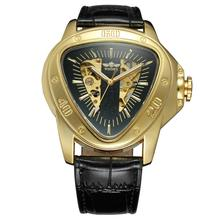 WINNER Fashion creative triangle surface classic black gold three pointer belt men wrist watch