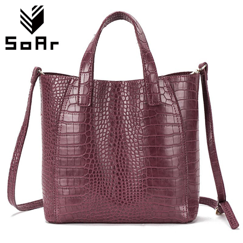 SoAr Women Leather Handbags Large Women Bag Shoulder Bags Ladies Brand Alligator Crocodile Pattern Hand Bags Tote Female Blosa 3 2018 yuanyu 2016 new women crocodile bag women clutches leather bag female crocodile grain long hand bag