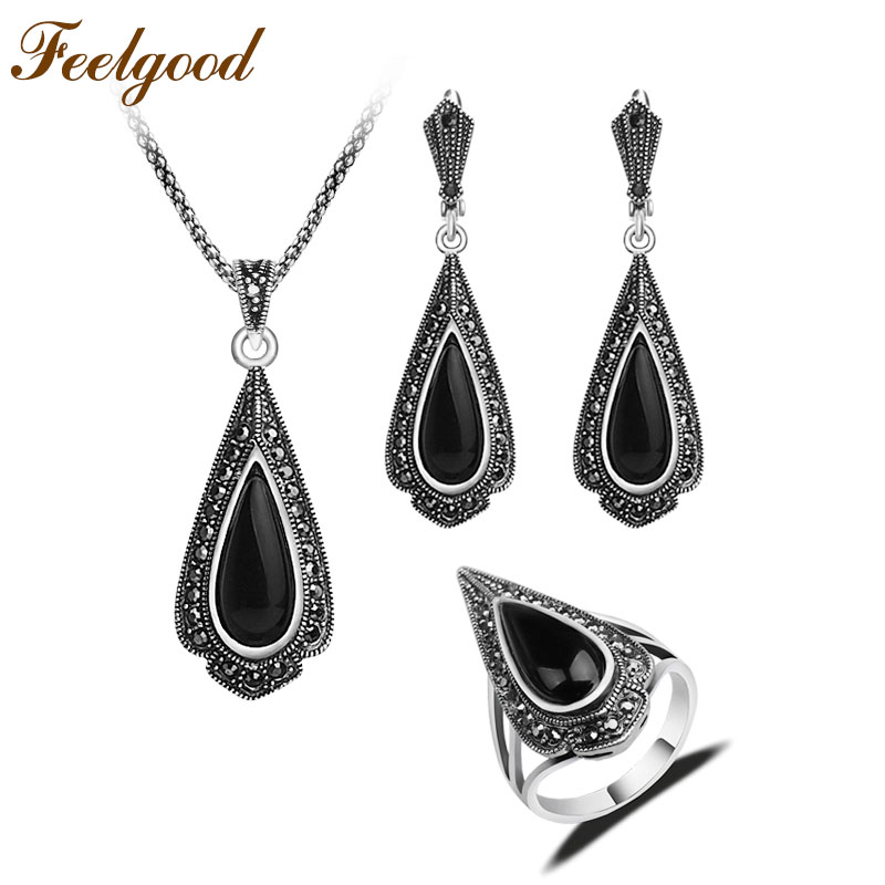 Feelgood Jewellery Fashion Black Water Drop Pendant Necklace Earrings Ring Sets Silver Color Vintage Jewelry Set For Women Gift water drop jewelry sets for women fashion jewellery nature stone with crytal glass stud earrings and pendant necklace of party