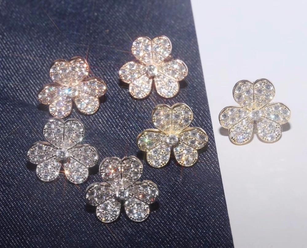 zoziri S925 sterling silver zircon 3 clover leaf earrings luxury brand imitation jewelry for women girls three flower earrings pair of chic rhinestoned four leaf clover shape earrings for women