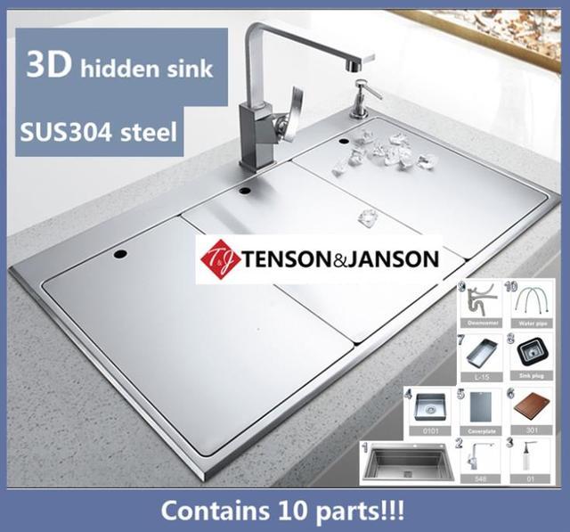 2016 New 3d Three Kitchen Sink Hidden Space Saving 304 Stainless Steel Kitchen Sinks Ems