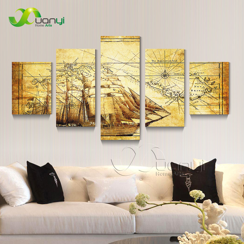 Abstract World Map Atlas 5 Panel Wall Art Painting Home Decor Wall Picture For Living Room