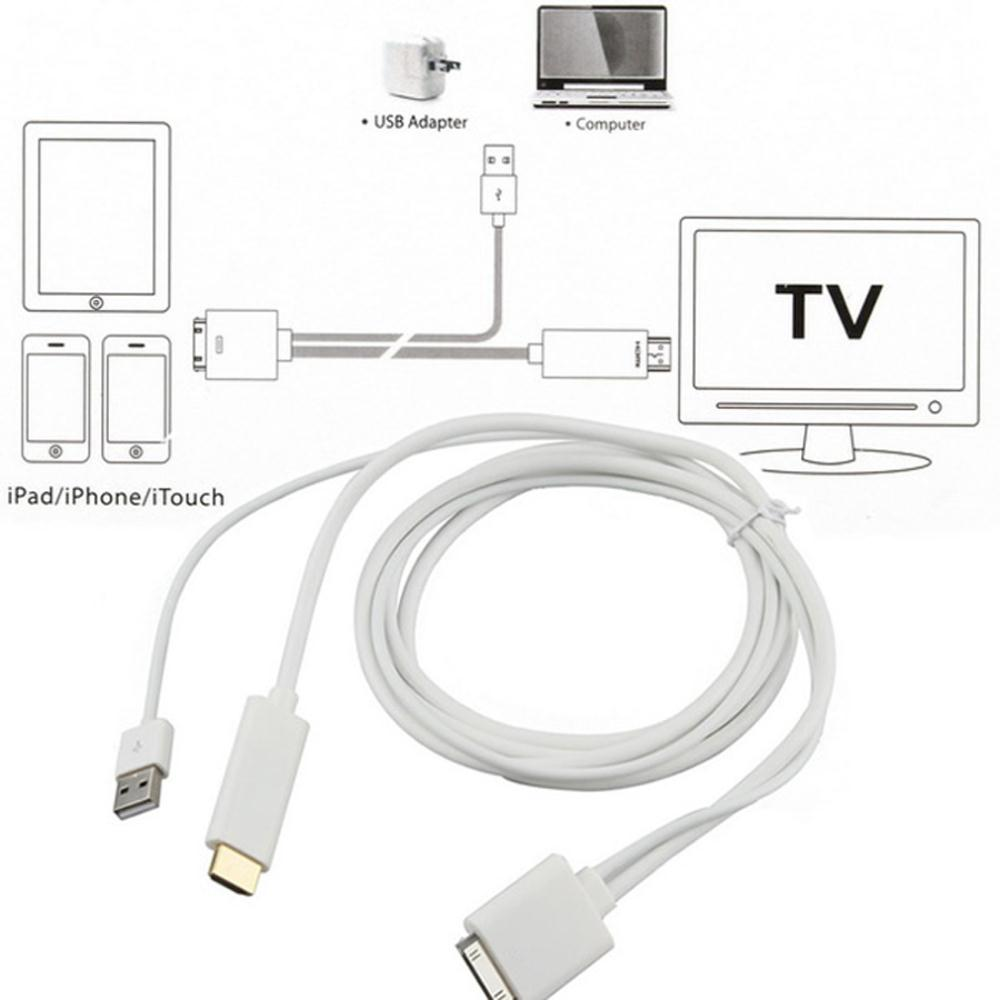 How To Connect Iphone To Tv Via Usb Cable: 30PIN IOS9 Dock to HDMI HDTV TV ADAPTER CABLE WITH USB for Apple rh:aliexpress.com,Design