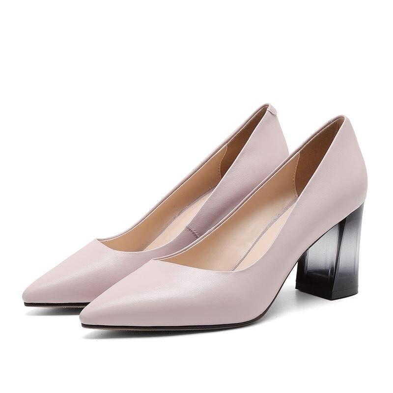 Épais Talons Cristal Femmes Noir À Cuir Chaussures Spéciale Offre rose Dames Allbitefo Véritable Talon Parti Pompes Pour O1wAIqgg