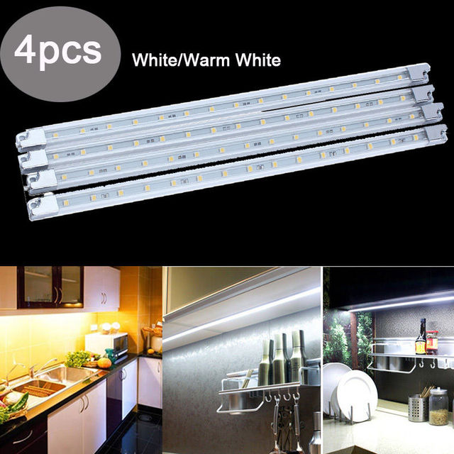 Led Strip Lighting Kitchen: 4 Pack Kitchen Led Under Cabinet Lights Strip Tube Bar For