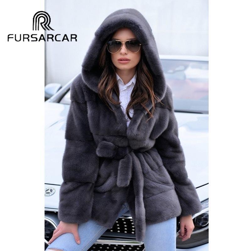 FURSARCAR зима Для женщин реального норки пальто 70 см длинные модные из натуральной норки женский пальто с меховым капюшоном Роскошные теплая к