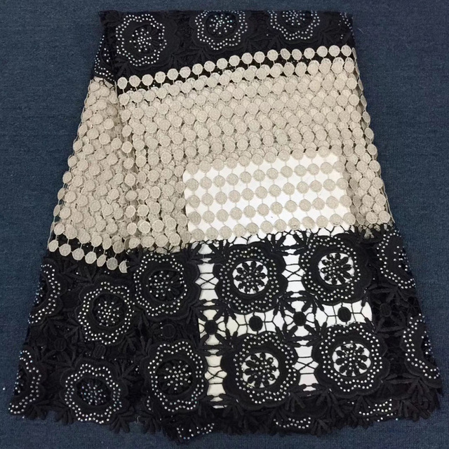 (5yards/pc) black and beige African big cord lace fabric with lots of stones fashion Nigerian party lace for dress CWS80