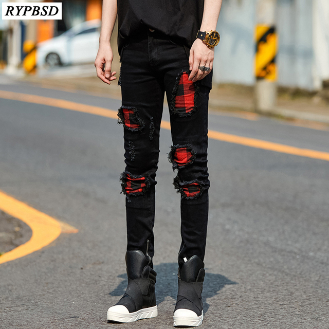 fe61c9d8d9a 2019 New Fashion Brand Ripped Biker Skinny Jeans Men High Quality High  Street Jeans for Men Hip-hop Style Hole Pencil Pants