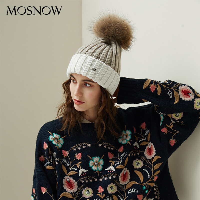 Winter   Beanies   For Women Stylish Knitted Hat Female Double-Color Patchwork Casual Cotton   Skullies     Beanies   Ladies Drop Shipping
