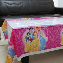 Nice 108*180cm Disposable Birthday Tablecloth Cartoon Princess Kids Happy  Birthday Party Decorations Plastic Tablecover