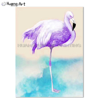 Best Wall Decoration Artist Hand painted Purple Flamingo Oil Painting on Canvas Violet Animal Bird Oil Painting for Living Room