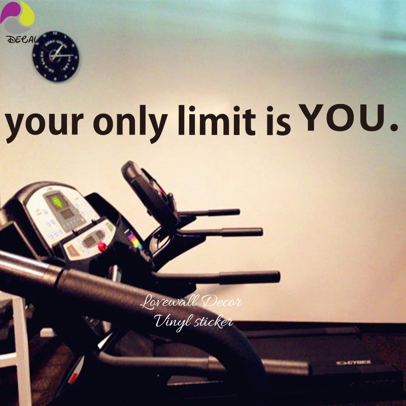 Your only limit is you Gym Quote Wall Sticker Fitness workout Office Motivation Inspiration Wall Car Window Decal Home Decor DIY