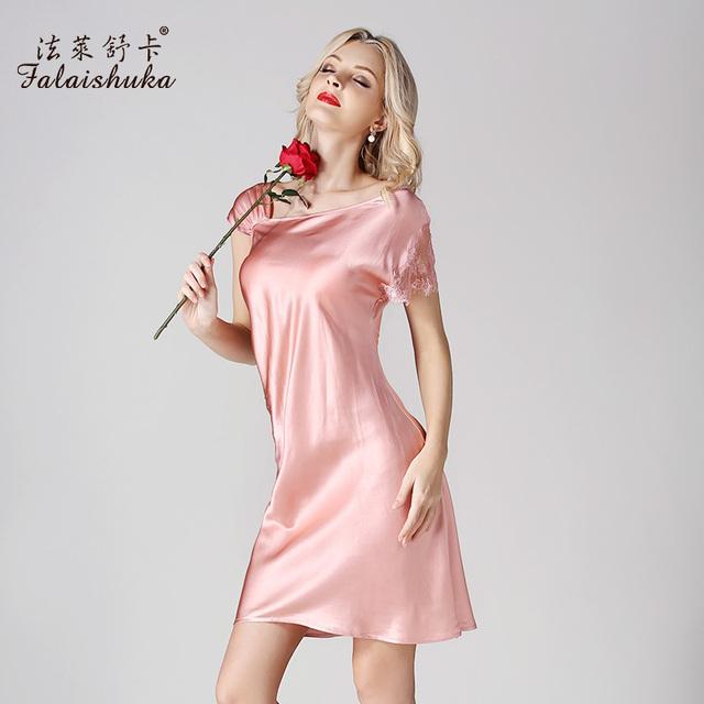 Moda Real de 100% natural de Seda Camisola Fêmea Laço Verão de Manga Curta Sleepwear 2017 Novo Design Dobrável Mulheres Nightdress D14012