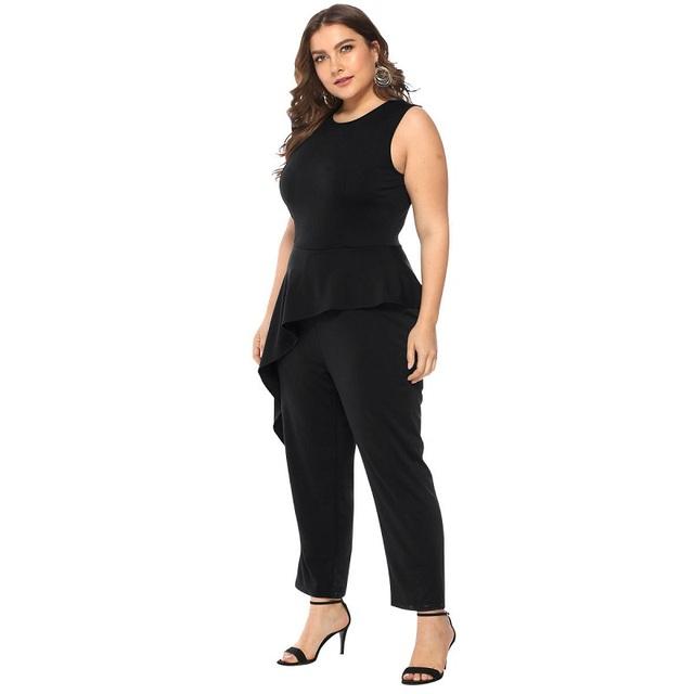WHZHM Ruffles kombinezon pajacyki damskie stałe Skinny Plus Size 3XL 4XL kobiety kombinezony bez rękawów długie spodnie kobiety body