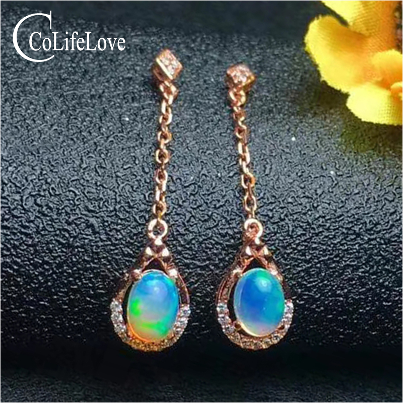 Fashion opal drop earrings for party 5 mm * 7 mm natural opal gemstone earrings rose gold color solid 925 silver opal earrings pair of delicate graceful solid color opal embellished waterdrop shape earrings for women