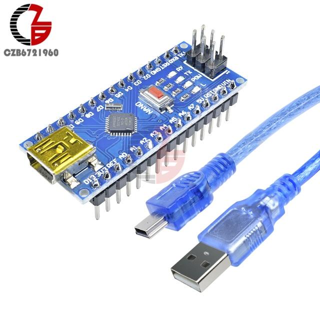 CH340 Mini USB Nano V3.0 ATmega328 16M 5V Micro-controller CH340G Board for Arduino with USB Cable