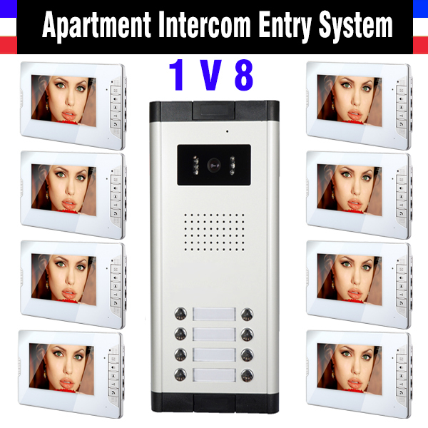 8 Units Apartment Intercom System 7 Inch Monitor Video Intercom Doorbell Apartment inter ...