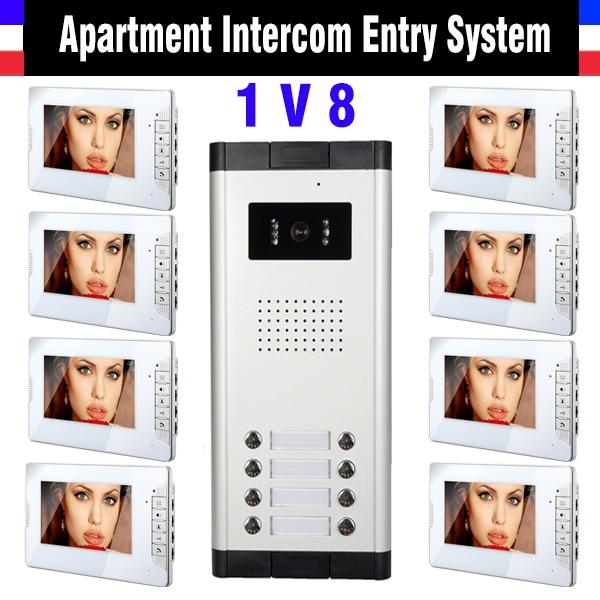 8 Units Apartment Intercom System 7 Inch Monitor Video Intercom Doorbell Apartment intercom kit IR Night Version Camera
