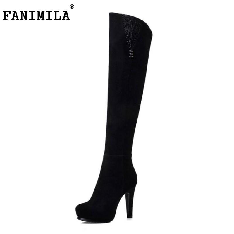 FANIMILA Women Real Leather Thick High Heel Over Knee Boots Women Rivets Platform Shoes Women Warm Plush Winter Botas Size34-39 coolcept winter shoes women real leather thick platform wedges winter boots for women zip high heel warm plush botas size 34 39