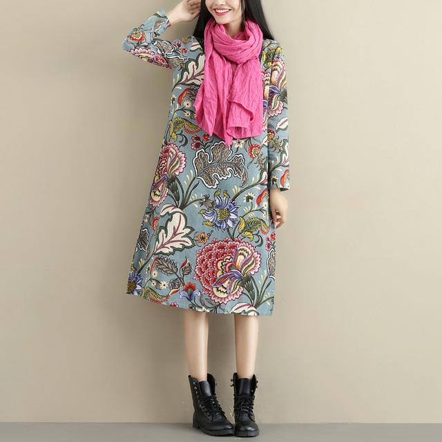 2021 Fashion Thicken Fleece Warn Winter Dress Print Floral Cotton Linen Vintage Spring Dress Women Casual Midi Dress Plus Size 4