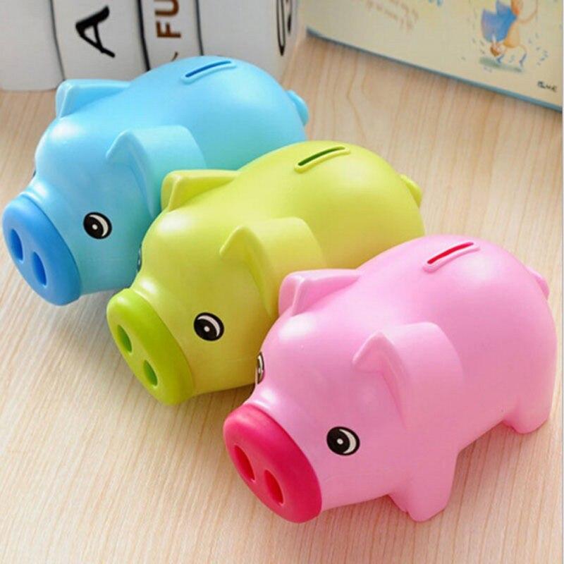 Cartoon Pig PIGGY Bank Coin Money Plastic Still Savings Toy Cash Safe Box Cartoon Transparent pig piggy bank child lovers