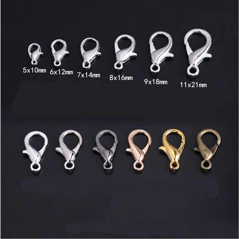 10/12/14/16/18/21mm Silver Gun Black Metal Lobster Clasps Hooks Bracelet End Connectors For Jewelry Making DIY Necklace Buckle
