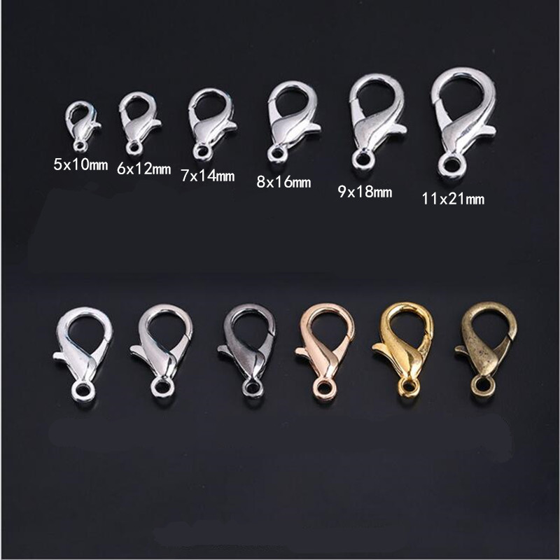 style 6 10 nickel plated keyring clasps snap-fold with curb chain connector