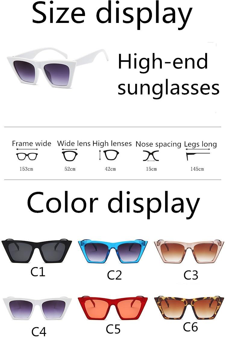 ASUOP2018 New ladies retro cat eye glasses high-end brand travel fashion men's sunglasses sports square UV400 transparent sunglasses (5)