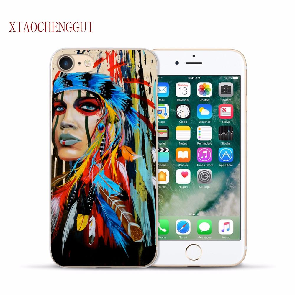 native American Indian with feather Painting Hard Plastic Transparent Phone Cases Cover For iPhone 6 5S SE 6S 6Plus 7 7 Plus 8 x ...
