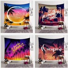Coconut Palm Tree Tapestries Landscape Wall Hanging Tropical Yoga Mat Seaside Scenery Bedspreads Custom Large Blanket Home Decor
