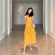 Sexy Women Maxi Dress Sleeveless V-neck Sling Long Dresses Ruffled Cake Sundress Female Summer