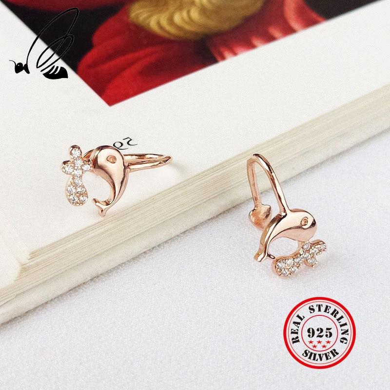 New Fashion 925 Sterling Silver Ocean Whale Clip On Earrings For Women Cubic Zirconia Clip Earrings Jewelry Free Shipping in Clip Earrings from Jewelry Accessories