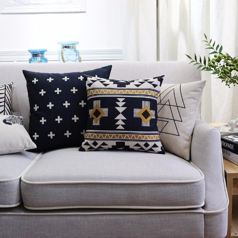 sweet white sofa cover   Nordic style black and white throw pillow case geometric ...