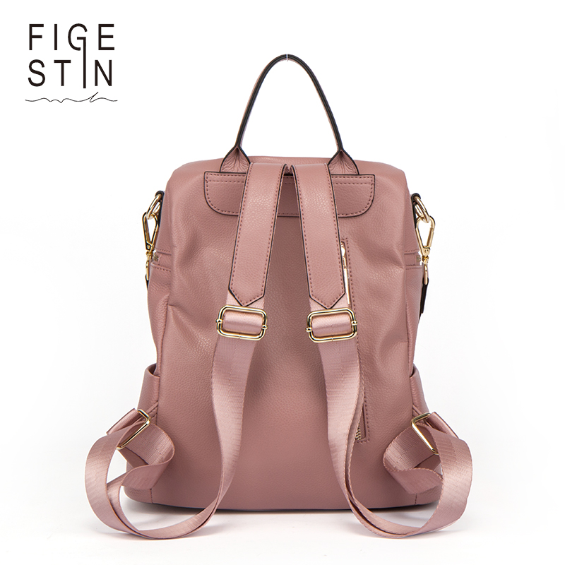 Figestin Backpack Female Genuine Leather Women Backpacks School Bag Pink Stripe Multifunctional Leather Back Pack On Shoulder #5