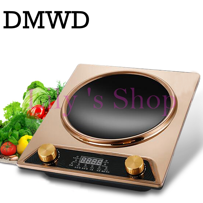 DMWD electric induction cooker Waterproof high power Concave type magnetic Hotpot cooker intelligent mini hot pot stove EU plug free shipping the electric 4l intelligent mini cooker genuine special offer