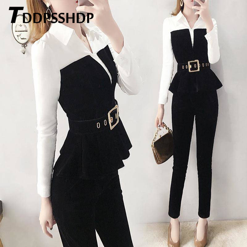 2019 Fashion Women Set Waist Belt Black And White Color Top And Pants