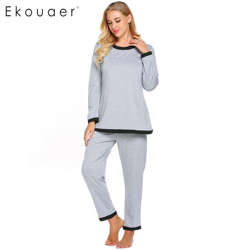 Ekouaer Women Long   Pajamas     Sets   Nightwear Pijama Loose O-Neck Contrast Long Sleeve Shirts Pockets Pants   Pajama   Suit Sleepwear