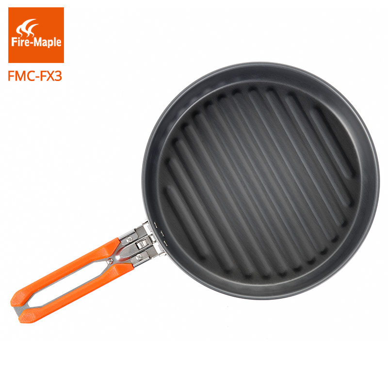 Fire Maple Outdoor Camping Hiking Picnic Portable Hard Aluminum Alloy 0.9L Frying Pan Folding Handle High Quality Tableware