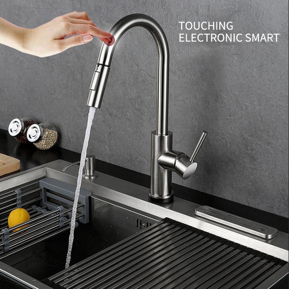 2019 robinets de salle de bains de cuisine à détection tactile robinet de type à tirer robinet d'eau chaude et froide 304 robinet en acier inoxydable 200mm
