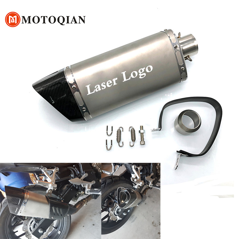 36~51mm Universal Scooter Motorcycle Carbon Fiber Slip On Akrapovic Exhaust Tip Escape Muffler Pipe Tube db killer Accessories