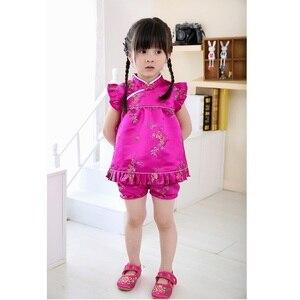 Image 2 - Hooyi כחול פרחוני בייבי תלבושות קיץ תינוק סט בגדי ילדי אופנה בגדי בנות חליפות חליפת מכנסיים מגשרים Qipao