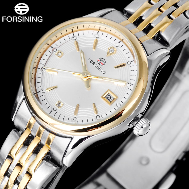 FORSINING Brand Women Dress Watches Ladies Business Quartz Slim Small Watches Gold Silver Steel Bracelet Date Waterproof Watches