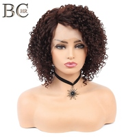 BCHR Short Kinky Curly Afro Lace Front Wig Blonde Brown Black 2 Color Synthetic Wigs for Black Women Heat Resistant Fiber