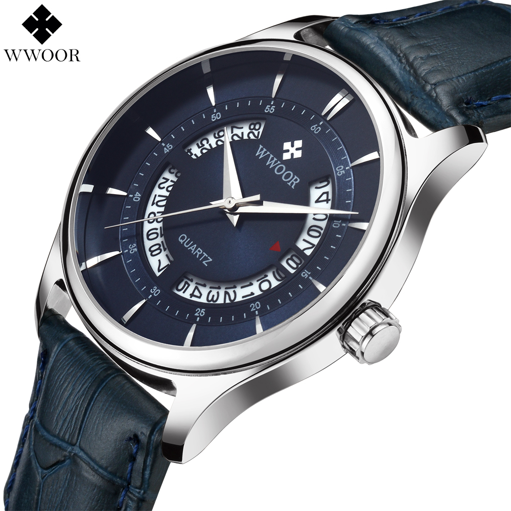 New WWOOR Top Brand Luxury Men Waterproof Sports Watches Men Quartz Hollow Date Clock Male Leather Wrist Watch relogio masculino wwoor men watch top brand luxury date ultra thin waterproof quartz wrist watch men silver clock male sports watches reloj hombre