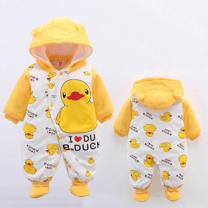 Baby Winter   Romper   2016 New Brand High Quality Cartoon Cotton Thicken Warm Infant Bebe Jumpsuit Newborn Baby Boy Girl Clothes
