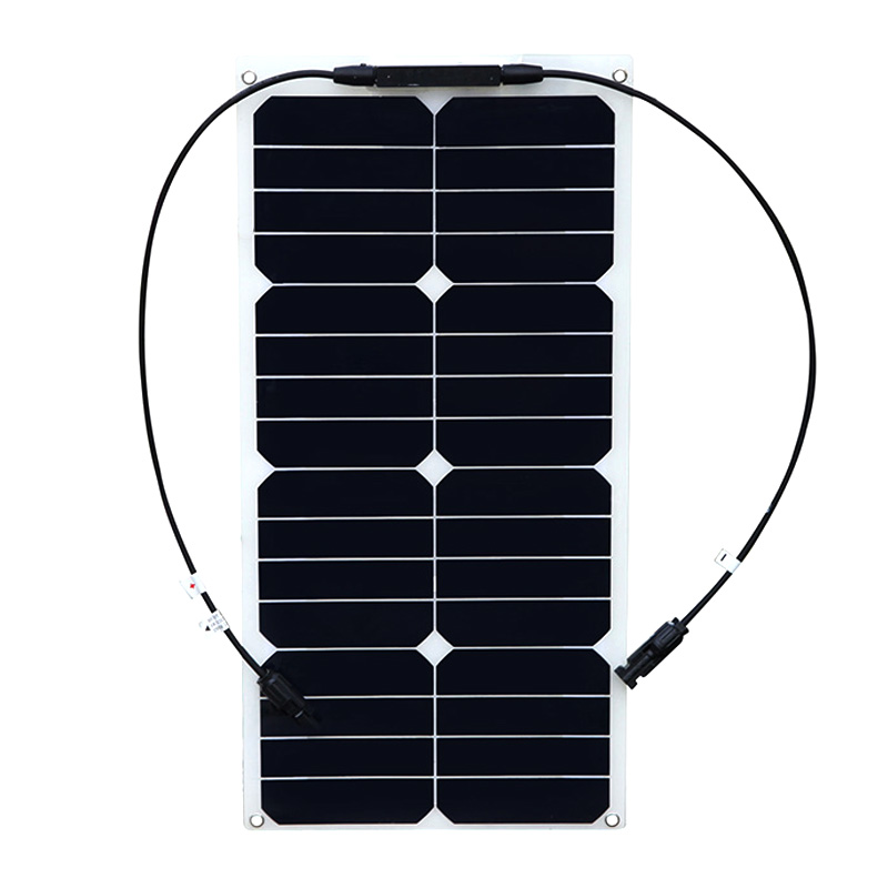 BOGUANG 18V 25W flexible high efficiency solar panel mono module 12V battery USA solar cell MC4 connector solar panel charger h 001 solar battery cell component waterproof mc4 connector black 2 pcs