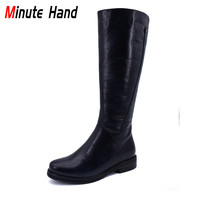Minute Hand Fashion Genuine Cow Leather Knee High Riding Boots Women Low Heels Side Zip Soft Warm Wool Equestrian Boots Winter