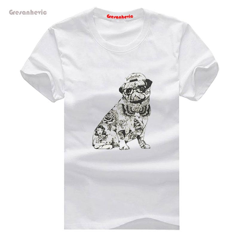 Pug tattoo new fashion men 39 s t shirts cotton t shirts man for Tattoo t shirts wholesale