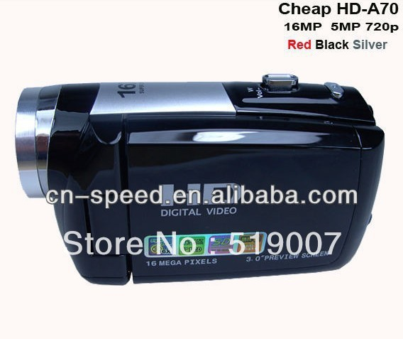 Free shipping and gift cheap hd video recording digital camera 5mp 16mp cmos camera lens red black silver colors HD-A70 in stock